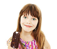 Little girl with ice cream. Closeup image of a little girl with ice cream. Isolated on white background Royalty Free Stock Photography