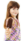 Little girl with ice cream. Isolated on white background Stock Photography