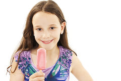 Little girl with ice cream. Isolated on white background Stock Photos