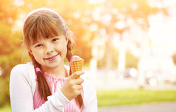 Little girl with ice cream Royalty Free Stock Images