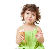 Little girl with ice cream in studio isolated Stock Photography