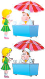 Little girl and ice cream vendor royalty free illustration