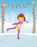 Little girl ice skating Stock Image