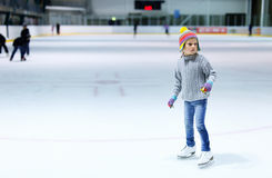 Little girl ice skating Royalty Free Stock Photo