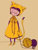 Little girl. Illustration of a girl dressed in a cat suit Stock Images