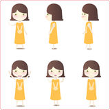 Little girl illustrations. A collection of six illustrations of a little girl in a yellow dress in various poses.  White background Stock Photos