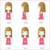 Little girl illustrations. A collection of six illustrations of a little girl in a yellow dress in various poses.  White background Stock Images