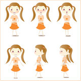 Little girl illustrations. A collection of six illustrations of a little girl in a yellow dress in various poses.  White background Royalty Free Stock Image