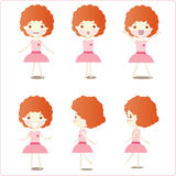 Little girl illustrations. A collection of six illustrations of a little girl in a yellow dress in various poses.  White background Royalty Free Stock Images