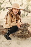 Little Girl In A Hat With Long Hair Royalty Free Stock Photo