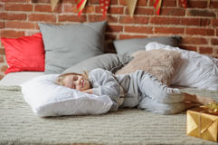 Free Little Girl In A Soft Pajamas Has Fallen Asleep. Stock Photography - 80264302