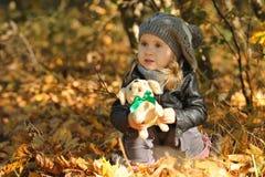 Little Girl In Autumn Leaves Stock Photo