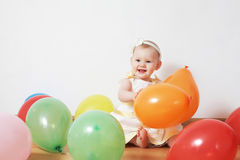Little Girl In Balloons Royalty Free Stock Photo