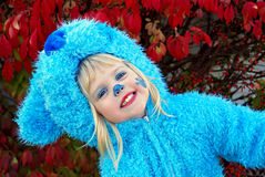 Little Girl In Blue Dog Costume Royalty Free Stock Image
