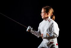 Free Little Girl In Fencing Costume, Attack Position Royalty Free Stock Photos - 71472008