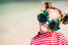 Free Little Girl In Funny Christmas Glasses Stock Photography - 103359152