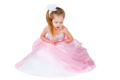 Little Girl In Gorgeous Gown Isolated On White Royalty Free Stock Images