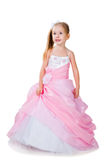 Little Girl In Gorgeous Gown On White Royalty Free Stock Photos