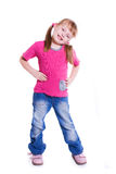 Little Girl In Jeans On White Background Stock Photography