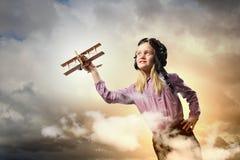 Little Girl In Pilot S Hat Stock Images