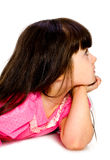 Little Girl In Profile. Isolated Royalty Free Stock Images