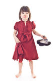 Little Girl In Red Dress Hold On Stylish Shoes Royalty Free Stock Photo