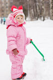 Little Girl In The Winter Stock Photos