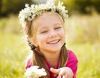 Little Girl In Wreath Of Flowers Stock Photos