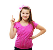Girl with index finger up Stock Photography