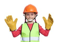 Little girl industrial worker stock photography
