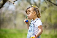 Little girl inflates soap bubbles. In spring in the garden Royalty Free Stock Image