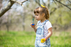 Little girl inflates soap bubbles. In spring in the garden Stock Photos