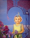 Little girl with iris in her hand stands against the backdrop of a fantastic arch and the sea. Oil paint Stock Images
