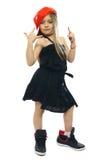 Little girl isolated on white. Hip-hop sweet little girl posing isolated on white Stock Images
