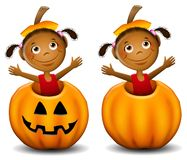 Little Girl in Jack O Lantern 2. An illustration featuring a cute little african american girl inside a jack-o-lantern wearing the stem on her head. An extra stock illustration