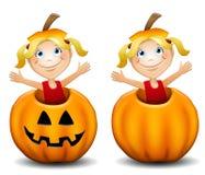 Little Girl in Jack O Lantern stock illustration