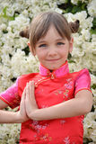 Little girl in a Japanese dress Stock Photography