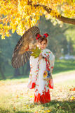 Little girl in japanese kimono Stock Photography