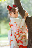 Little girl in a Japanese kimono Stock Images