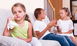 Little girl is jealous sister of stepbrother Royalty Free Stock Photos