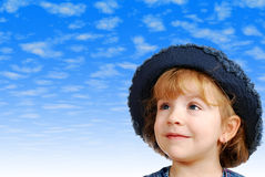Little girl with jeans hat Stock Photos