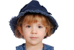 Little girl with jeans hat portrait Stock Image