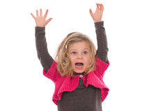 Little girl is jubilantly. Little girl in pink dress is jubilantly Royalty Free Stock Photography