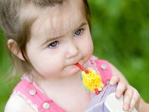 Little girl with juice Stock Photo