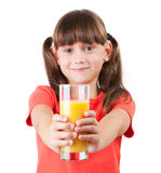 Little girl with juice in his outstretched hands Royalty Free Stock Image