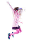 Little girl jumping. Studio isolated Royalty Free Stock Photography