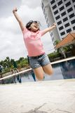 Little girl jumping high Royalty Free Stock Photo