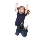 Little girl jumping on isolated Royalty Free Stock Image