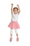 Little Girl Jumping. With Joy Isolated on White Background Royalty Free Stock Photos