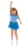 Little girl jumping lifting the arm up Royalty Free Stock Photography
